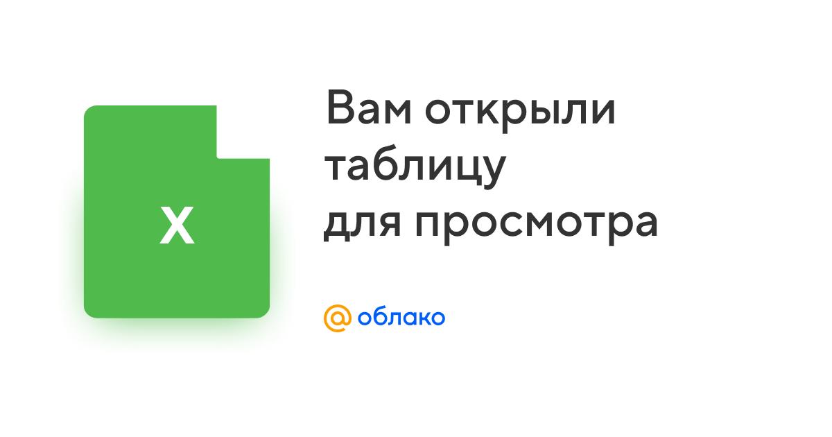 Таблица из Облака Mail.ru